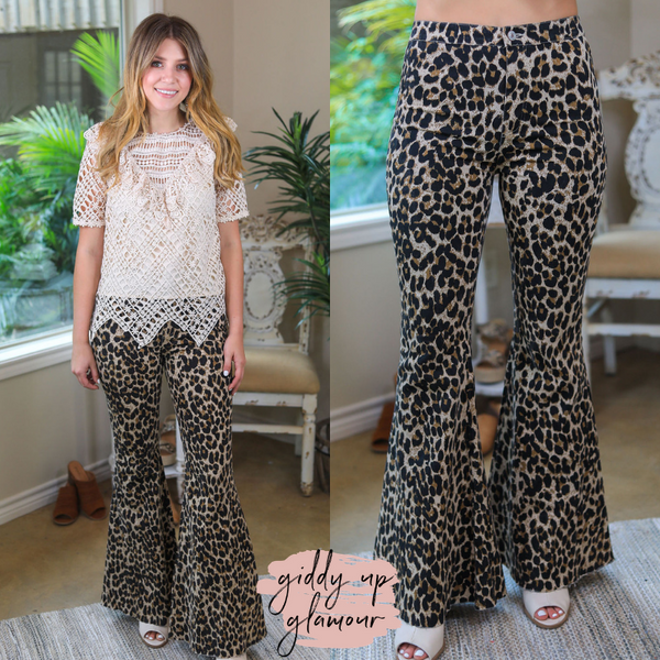 Turn Up The Sass Bell Bottom Flare Jeans in Leopard