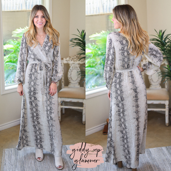 Wild About You Snakeskin Maxi Dress in Mocha