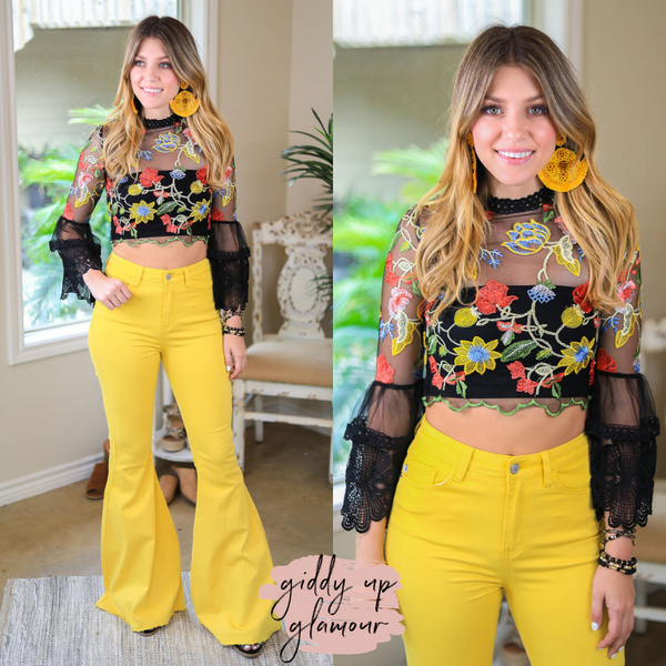 I'm All In Floral Lace Crop Top with Bell Sleeves in Black Multi