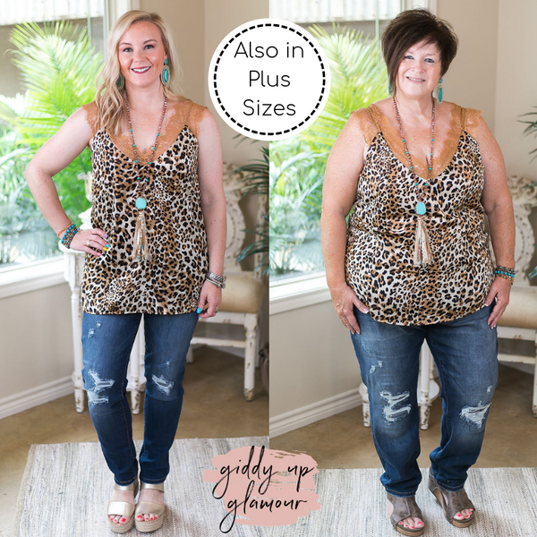 On Replay Animal Print Satin Camisole with Lace Sleeves in Leopard