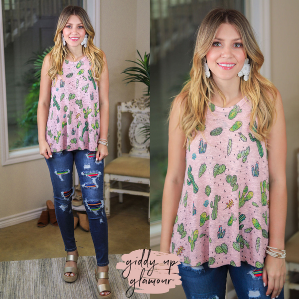 Point Made Cactus Print Halter Tank Top in Light Pink