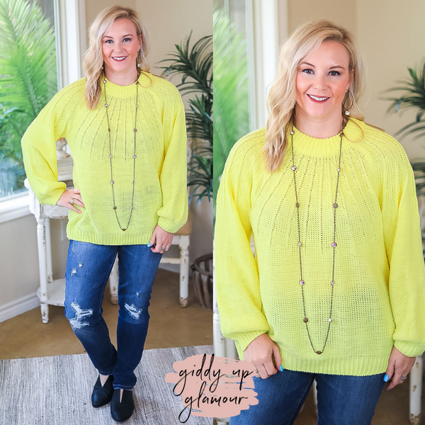 Bright Lights Puff Sleeve Knit Pullover Sweater in Neon Yellow
