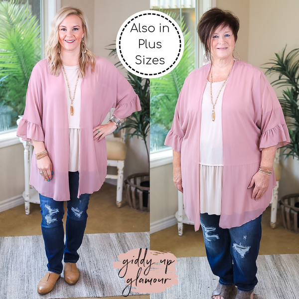 Tell Me About It Sheer Kimono with Ruffle Sleeves in Dusty Rose Pink