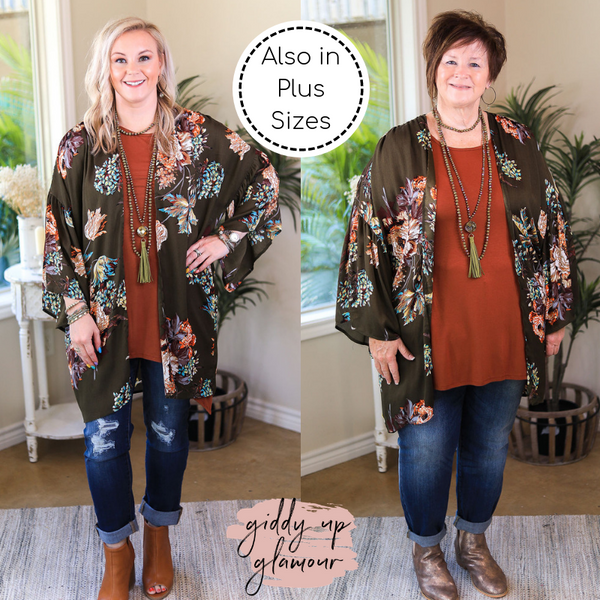 Always A Good Time Floral Print Bell Sleep Kimono in Olive Green
