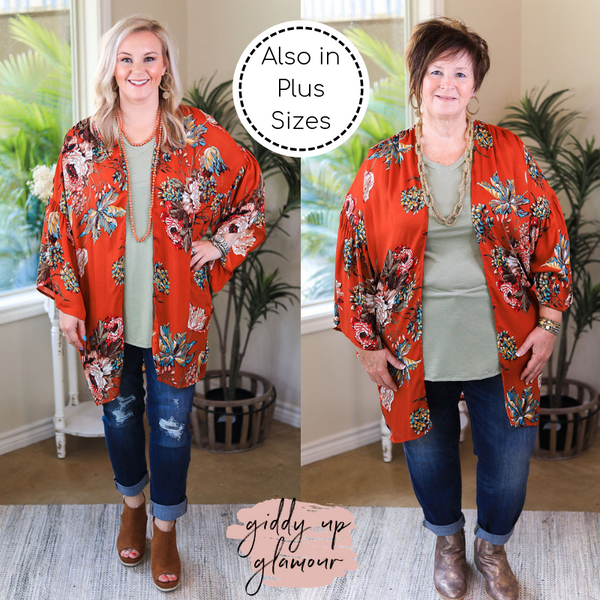 Always A Good Time Floral Print Bell Sleep Kimono in Rust Orange