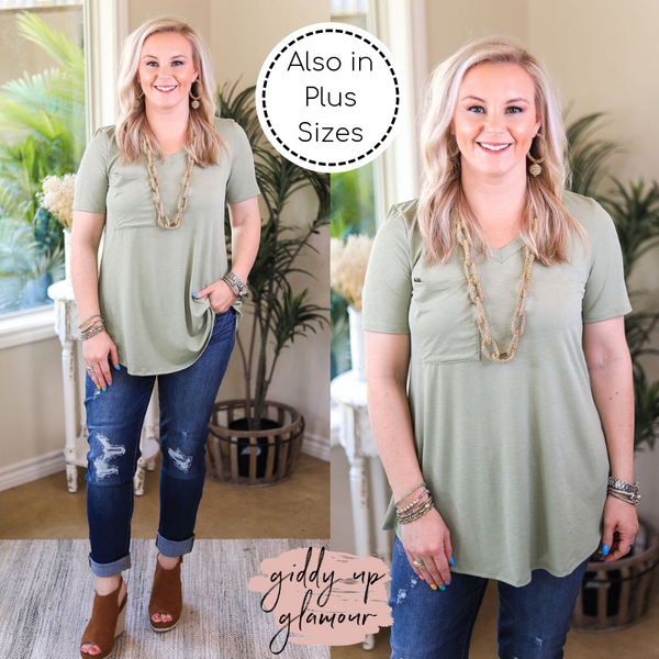Just Right Short Sleeve Pocket Tee in Sage Green