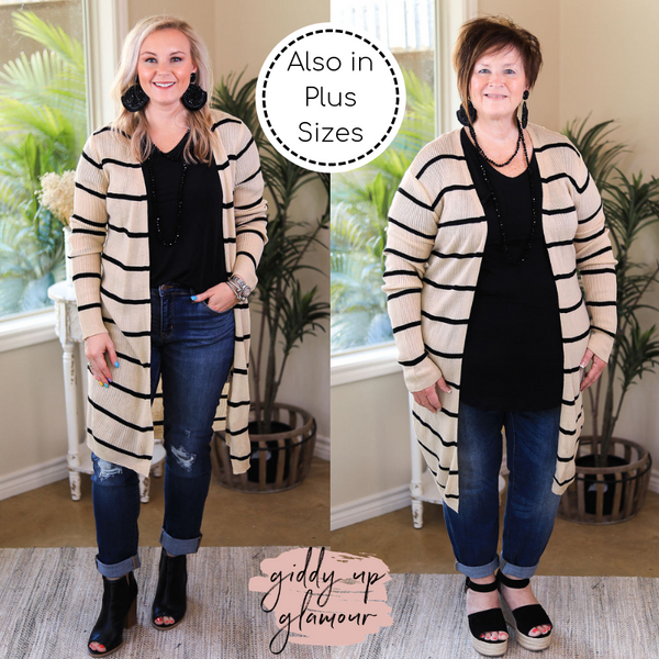 Get In Line Long Striped Ribbed Cardigan in Oatmeal Taupe