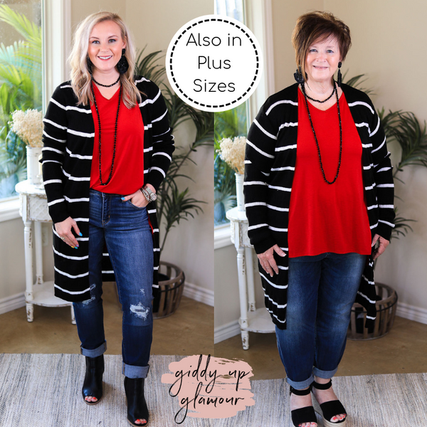 Get In Line Long Striped Ribbed Cardigan in Black