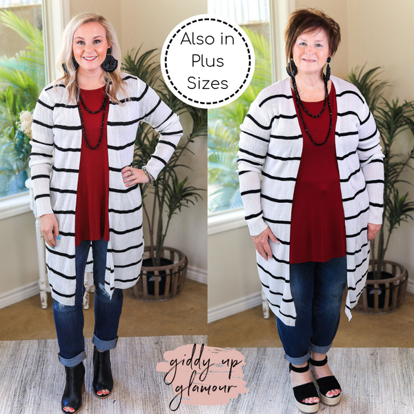 Get In Line Long Striped Ribbed Cardigan in White
