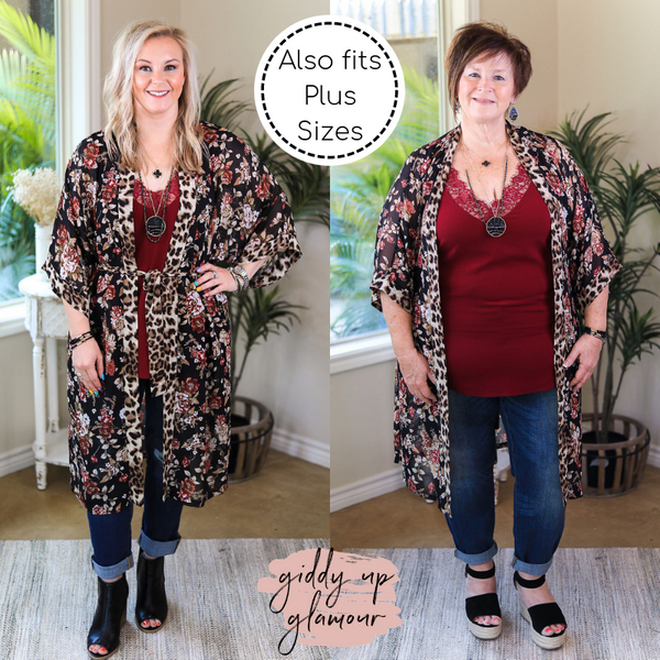 On My Mind Sheer Floral Print Kimono with Leopard Print Trim in Black