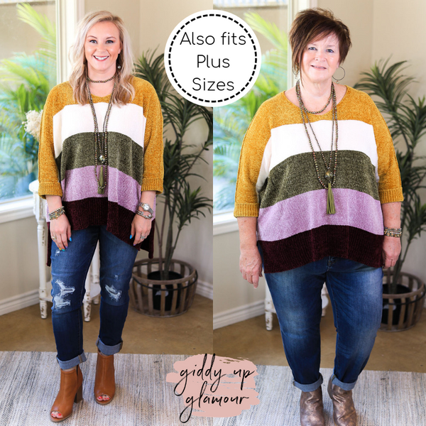 With All My Love Chenille Oversized Stripe Knit Sweater in Mustard Yellow & Purple