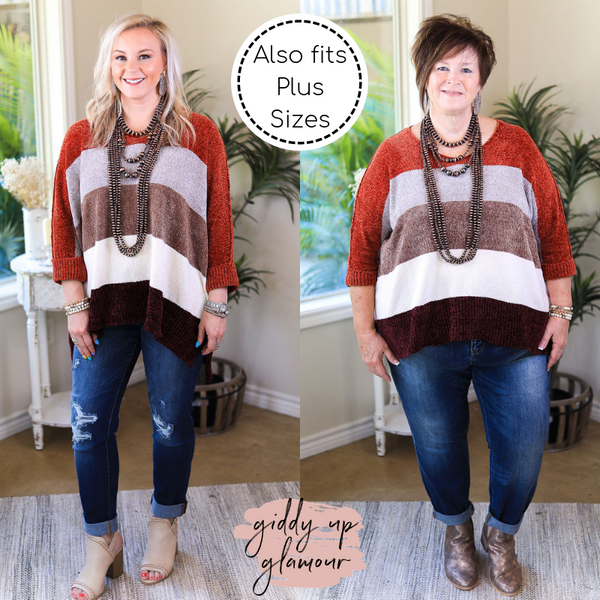 With All My Love Chenille Oversized Stripe Knit Sweater in Rust Orange & Maroon