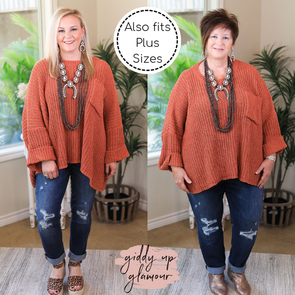 Fire Place Cuddles Over Sized Chenille Sweater in Rust Orange