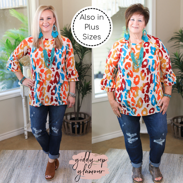Classy Comfort 3/4 Ruffle Sleeve Leopard Print Tunic Top in Fall Multi Colors