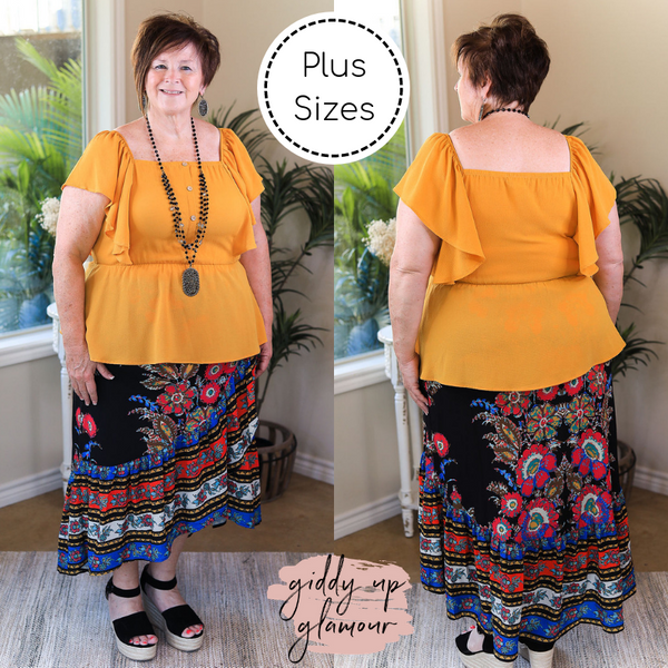 Plus Size | Flock To Paradise Floral Print Wrap Skirt in Black