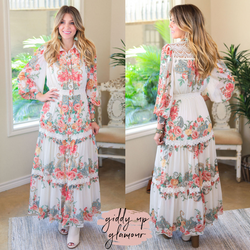 Online Exclusive | Must Be Dreaming Floral Print Woven Maxi Dress with Crochet Detailing in Ivory