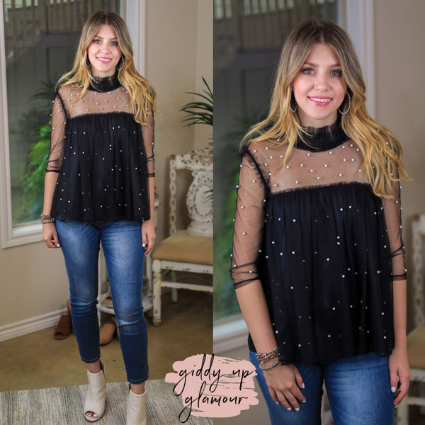 Heart Stopper High Neck Lace Blouse with Pearl Detailing in Black