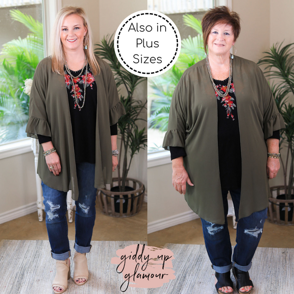 Tell Me About It Sheer Kimono with Ruffle Sleeves in Olive Green