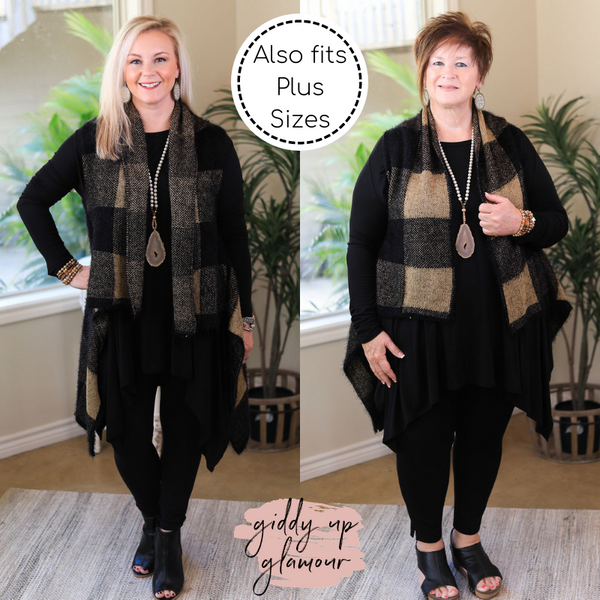Simply Sweet Super Soft Buffalo Plaid Eyelash Sweater Vest in Black