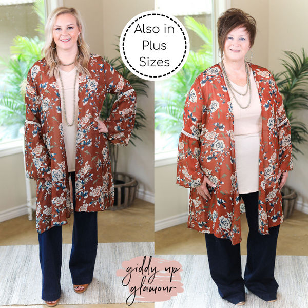 Command Attention Floral Print Kimono with Crochet Detailing in Rust Orange