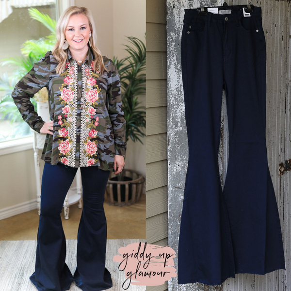 Judy Blue | Won't Forget Her Super Flare Raw Hem Jeans in Navy Blue