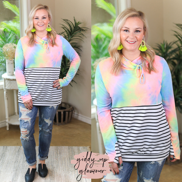 Light Me Up Neon Tie Dye & Stripe Cowl Neck Pullover Sweater