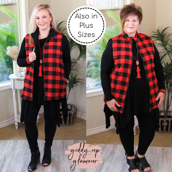 Meet Me In Aspen Buffalo Plaid Sherpa Lined Zip Up Vest in Red