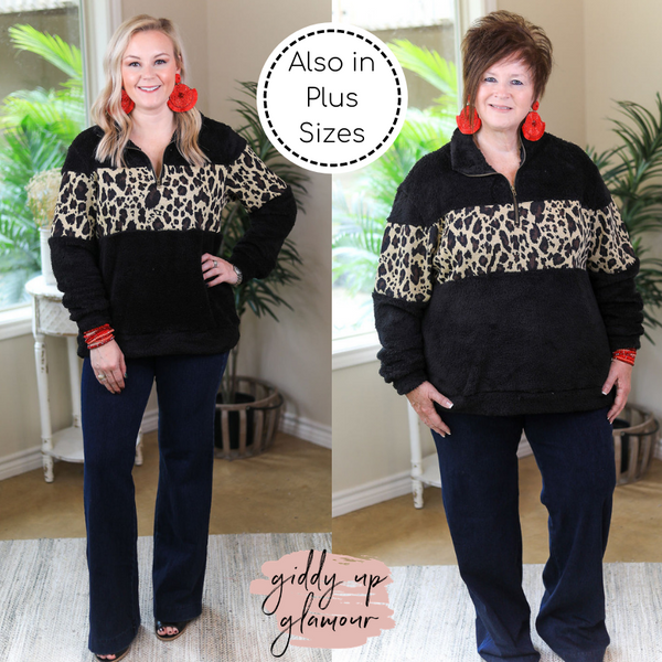 Cozy Up To You Sherpa Quarter Zip Jacket with Leopard Print in Black