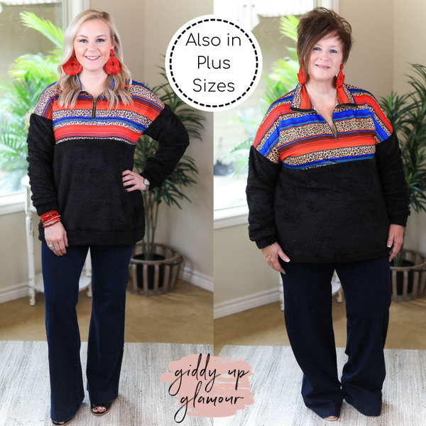 Cabin Cozy Sherpa Quarter Zip Jacket with Serape & Leopard Print in Black