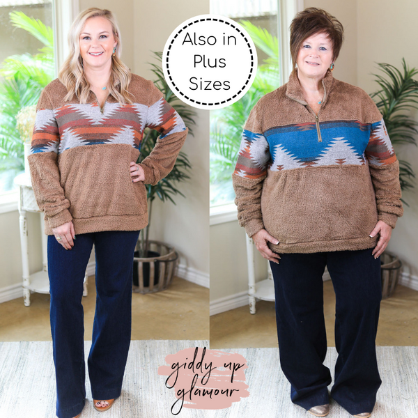 Cozy Up To You Sherpa Quarter Zip Jacket with Aztec Print in Mocha Brown