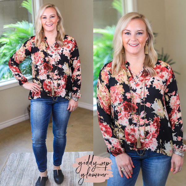 All Your Life Long Sleeve Floral Blouse in Black