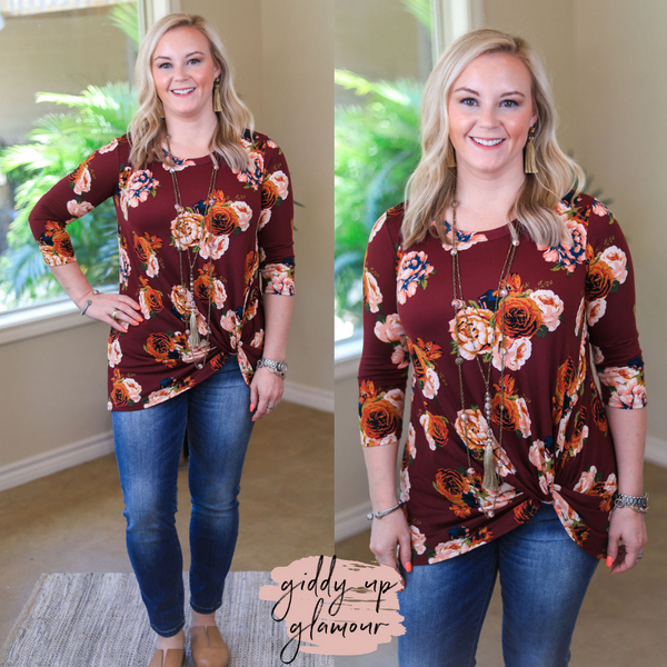 Follow The Petals 3/4 Sleeve Floral Top with Knot Hem in Maroon