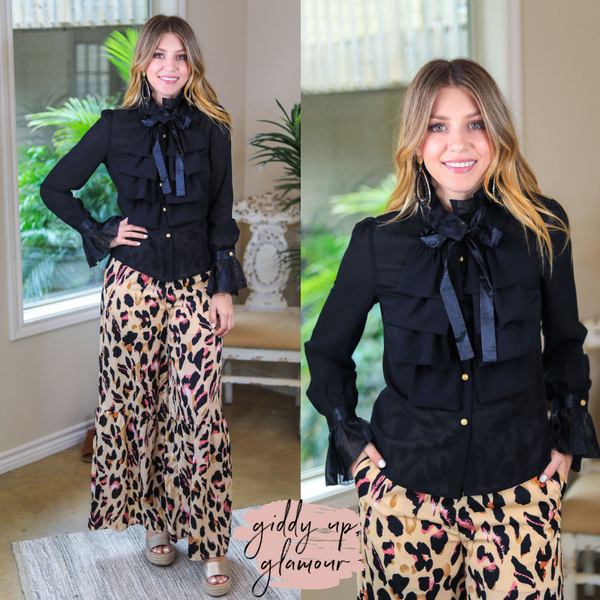Just To Be Iconic Ruffled Long Sleeve Blouse with Neck Tie in Black