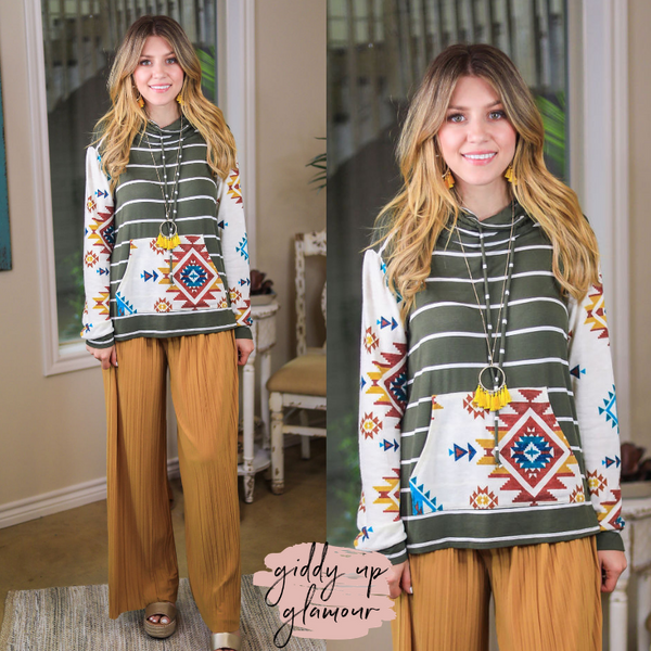 Online Exclusive | Keeping Promises Stripe & Aztec Print Cowl Neck Pullover in Olive Green