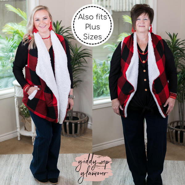 Cozy On Up Super Soft Buffalo Plaid Sherpa Lined Sweater Vest in Red
