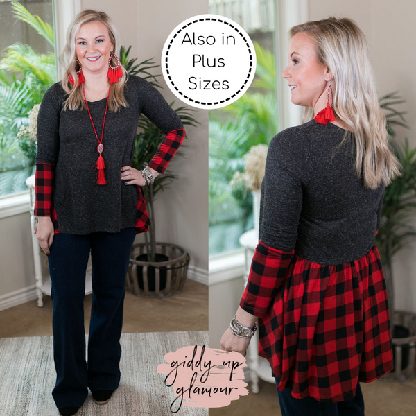 Perfect Timing Charcoal Top with Red Buffalo Plaid Accent