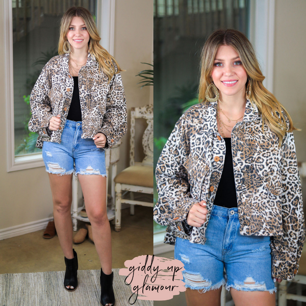 Drippin' in Finesse Over Sized Crop Denim Jacket in Leopard