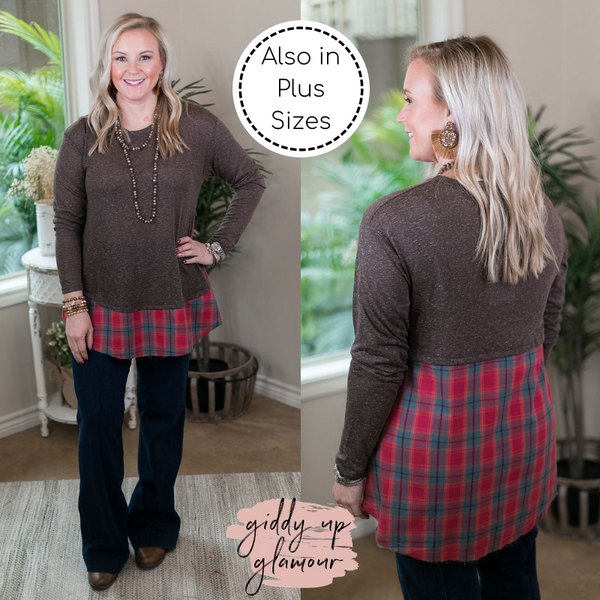 Start Right Here Knit Tunic with Magenta Plaid Raw Hem Trim in Mocha Brown