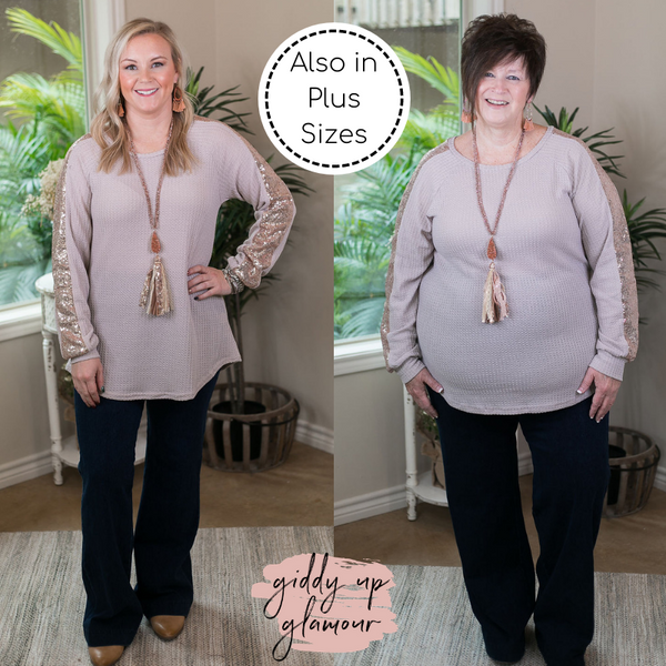 Find Your Happiness Knit Long Sleeve Top with Rose Gold Sequin Accents in Beige Ivory