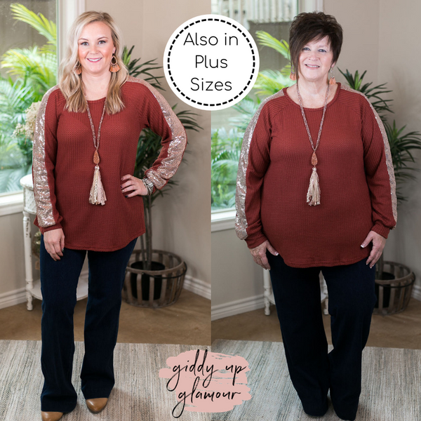 Find Your Happiness Knit Long Sleeve Top with Rose Gold Sequin Accents in Rust Orange