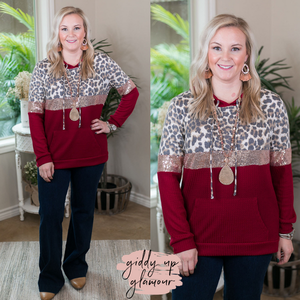 24/7 Glam Thermal Waffle Hoodie with Sequins and Leopard in Maroon