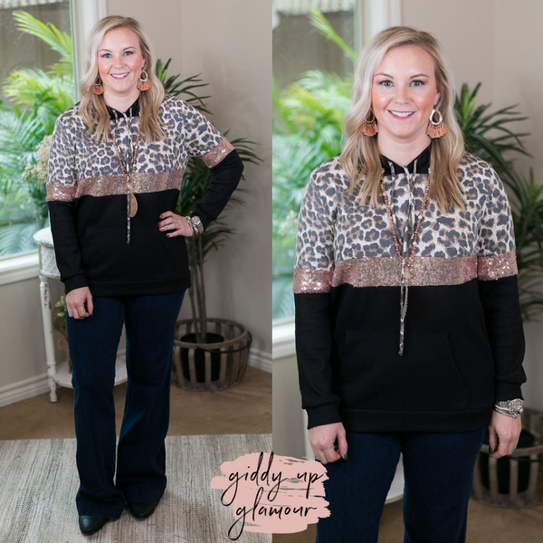 24/7 Glam Thermal Waffle Hoodie with Sequins and Leopard in Black