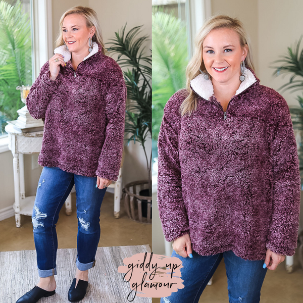 All About Comfort Super Soft Quarter Zip Pullover Sherpa in Maroon