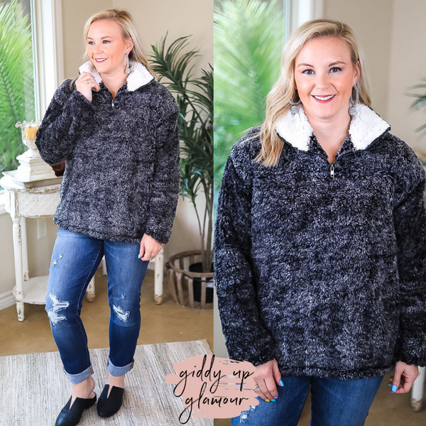 All About Comfort Super Soft Quarter Zip Pullover Sherpa in Black