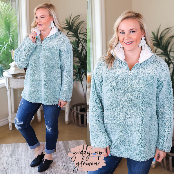 All About Comfort Super Soft Quarter Zip Pullover Sherpa in Mint Green
