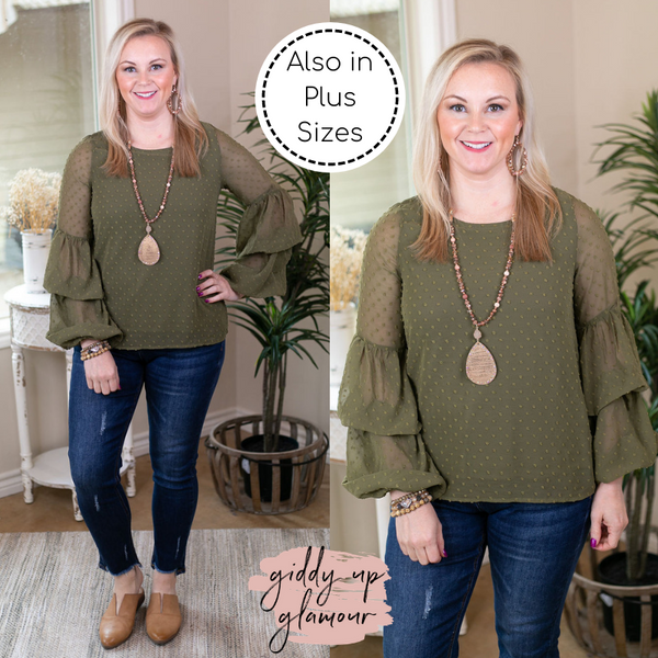 About A Girl Dotted Swiss Top with Layered Ruffle Sleeves in Olive Green