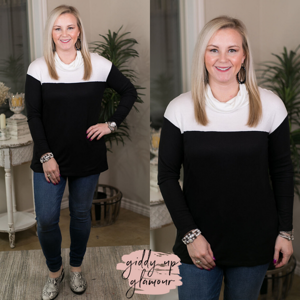 Online Exclusive | Easy Choice Color Block Turtleneck Knit Top in Ivory & Black