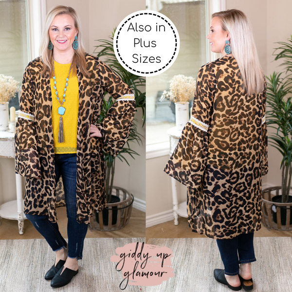 Command Attention Print Kimono with Crochet Detailing in Leopard