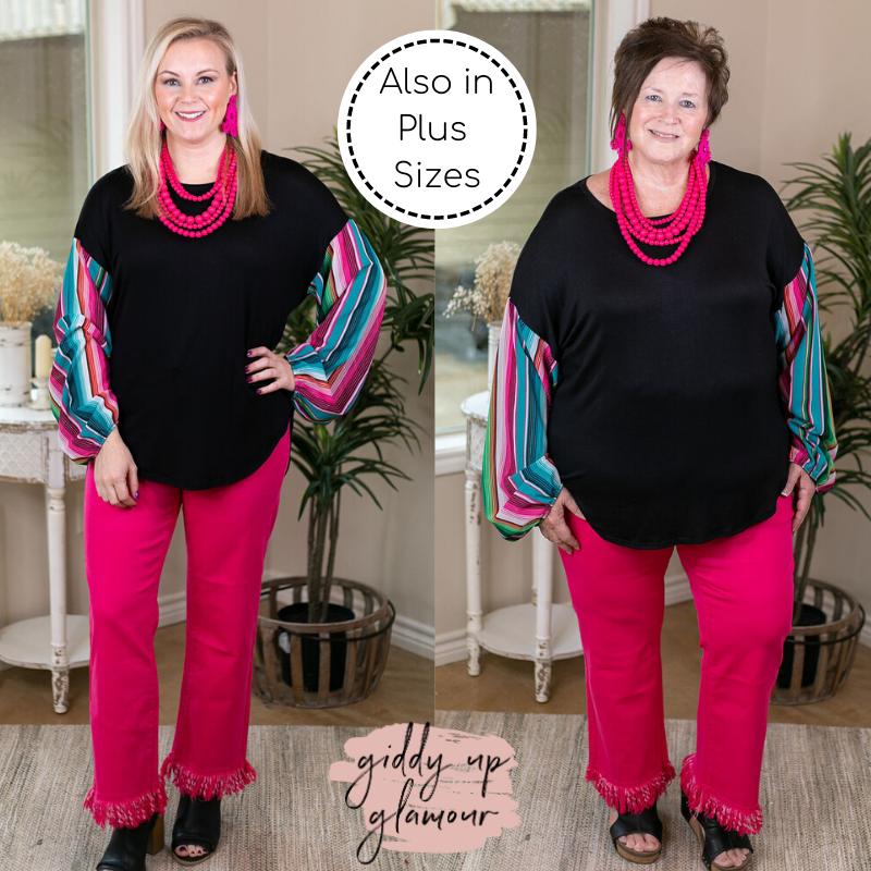 Mover and a Shaker Bishop Puff Sleeve Top in Pink & Turquoise Serape