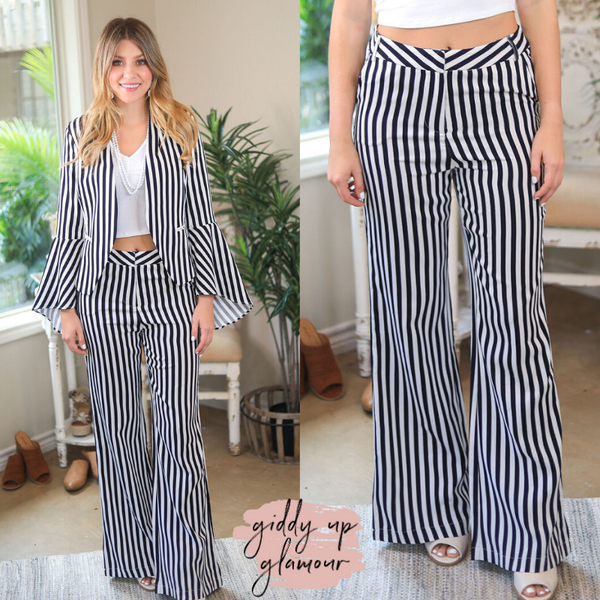 She's All Business Striped Wide Leg Pants in Navy Blue